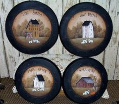primitive burner covers for electric stove Primitive Plates, Primitive Folk Art, Primitive Crafts, Country Primitive, Prim Decor, Country Decor, Casas Country, Stove Burner Covers, Cute Crafts