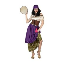 Disfraz para mujeres de Gitana o Zíngara. Talla M-L = 38/42. Incluye vestido y pañuelo para la cabeza. Completa el disfraz con complementos de nuestra sección de Accesorios.