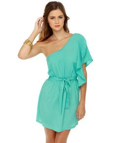 Cute Turquoise Dress - One Shoulder Dress - Ruffle Dress - $32.00