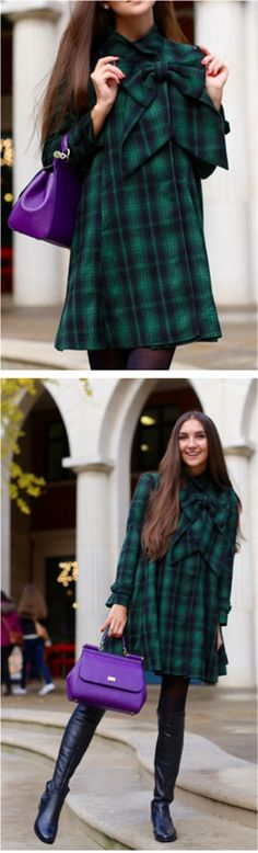 EXTRA 25%OFF!!! BLACK FRIDAY SUPER SALE! Up to 80% OFF!  Cut in dolly loose shape, featuring big bowknow decor in front and classic tartan pattern, stand collar and belted cuffs, this dress represents your most cheering holiday spirit. Green Tartan Dolly Dress with Big Bow featured by Galina Thomas Blog