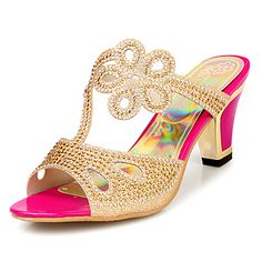 ENMAYER Big size Fashion Women Rhinestone Sandals Colorful Chunky Heels Open Toe Platform Summer Shoes for Women Slippers For Girls, Womens Slippers, Summer Slippers, Cheap Womens Shoes, Open Toe Sandals, Women's Sandals, Slide Sandals, Rhinestone Sandals, Party Shoes