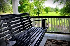 Porch swing off the Ms. Ruby's Room at the Texas Forest Country Retreat B & B.