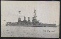 Postcard U.S. NAVY BATTLESHIP  U.S.S. VERMONT #2 view 1907?
