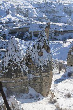Snow in Göreme, Cappadocia, Turkey