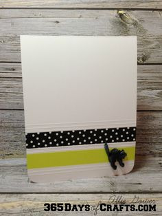 Create a simple card with some scored lines and strips of Washi Tape. Fun and easy ideas from Allie Gower at 365 Days of Crafts.