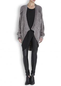 Grey draped mohair blend cardigan