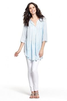 Calypso St. Barth Besa Pleated Tunic Blue  #CalypsoStBarth #Tunic