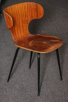 Carlo Ratti; Molded Plywood and Enameled Metal Chair, 1955.
