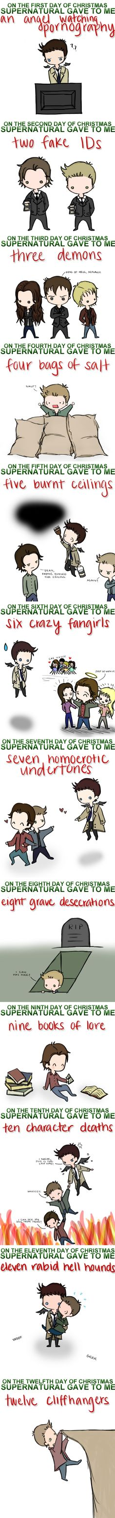 "Twelve Days of Supernatural Christmas. I love the drawings that go with it. Especially the 10 character deaths one! Lol ""I can see my soul from here!"" << Anyone else sing the entire song before pinning. Castiel, Crowley, Supernatural Christmas, Supernatural Fans, Sam Dean, Jensen Ackles, The Maxx, Winchester Boys, Super Natural"