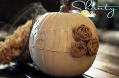 foam pumpkin, sticker letters, spray paint and burlap -- too cute!