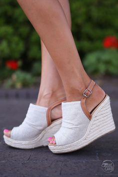 Not Just Anybody Wedges peep to sandal shoes canvas trendy cute closet candy boutique