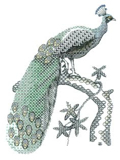 Blackwork Peacock Embroidery Kit - a Hand Embroidery Design as an Alternative to Cross-stitch.