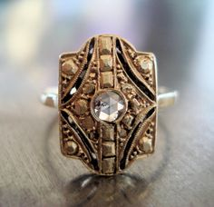 Art Deco Rose Cut Diamond Ring from France by AntiqueSparkle, $785.00