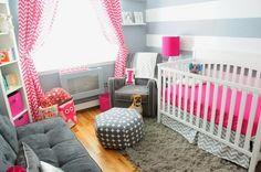 Dormitorios de bebé en rosa y gris