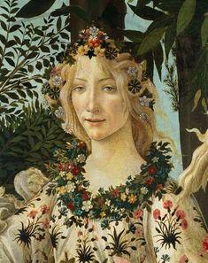 ***Detalle de La Primavera. Sandro Botticelli, 1477-1478. Temple sobre tabla • Renacimiento. 203 cm × 314 cm. Galería Uffizi, Florencia, Italia.