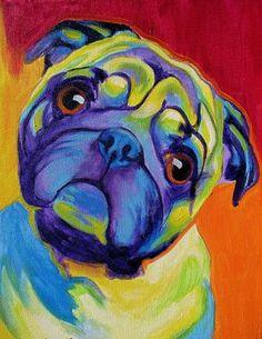 Colorful Pet Portrait, Pug Dog, Art Print by Alicia VanNoy Call Tableau Pop Art, Pug Art, Pug Pop Art, Colorful Animals, Dog Illustration, Pug Love, Dog Portraits, Art Plastique, Animal Paintings