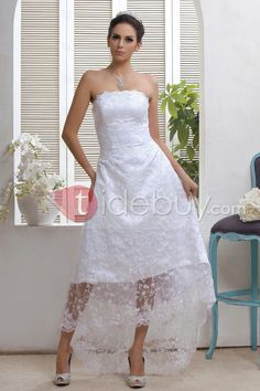 This looks like the perfect dress for a beach wedding  Gorgeous Sheath/Column Strapless Asymmetry-length Taline's Lace Wedding Dress