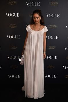Rihanna in a sheer gown by Dior Couture.