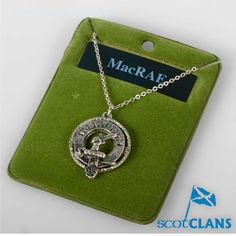 MacRae Clan Crest Pendant. Free worldwide shipping available.