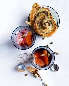 Savoury and sweet: pomegranate and prosecco, with green olive pastries.