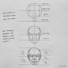 """𝑱𝑨𝑪𝑲's Instagram profile post: """"The basic proportions of the face:) I hope it makes sense aha 😬 • See bio for a FREE trial of Skillshare Premium! #arts_help #anatomy #face…"""" Drawing Skills, Figure Drawing, Drawing Reference, Head Proportions, Portrait Drawing Tips, Head Anatomy, Learn To Draw, Easy Drawings, Sketches"""