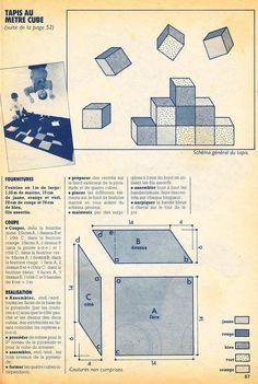 CENT IDEES ET LE PATCHWORK Dans le n°122 (décembre 1983), Les cubes en feutrine sont assemblés entre eux puis appliqués sur le tapis (ouvrage Annette Pean-Boulay). Et jolie idée pour décorer une couette: Les explications Un labyrinthe de biais permet...