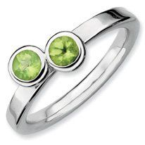 0.58ct Lovely Silver Stackable Db Round Peridot Band. Sizes 5-10 Available Jewelry Pot. $28.99. Your item will be shipped the same or next weekday!. 100% Satisfaction Guarantee. Questions? Call 866-923-4446. Fabulous Promotions and Discounts!. All Genuine Diamonds, Gemstones, Materials, and Precious Metals. 30 Day Money Back Guarantee. Save 62% Off!