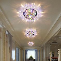 Contemporary led crystal flush mount light in flower design – LightSuperDeal.com