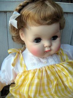 Vintage baby doll, Madame Alexander doll, 'Puddin', from 1970's   And I still have mine.  I need to get her out and put her on my bed
