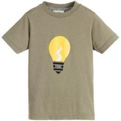 Fendi - Boys Green Cotton Jersey 'Lightbulb' T-Shirt | Childrensalon