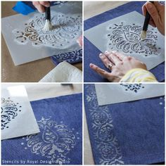 inspired by indigo stencil a sumptuous table setting, crafts, dining room ideas, how to Stencil Wall Art, Stencil Decor, Stencil Painting, Painting Patterns, Fabric Painting, Stenciling, Stenciled Table, Fabric Stamping, Arts And Crafts