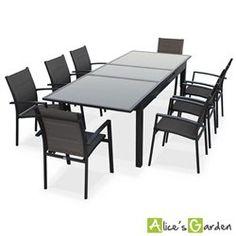 Salon de jardin 8 fauteuils table à rallonge auto extensible 200/260cm alu anthr