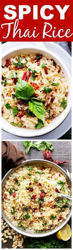 Spicy Thai Rice - One pot, easy and delicious Thai-style spicy rice with toasted peanuts, fresh basil and dried Thai chili. with /mortonsalt/ (Spicy Bake Rice) Spicy Recipes, Asian Recipes, Vegetarian Recipes, Cooking Recipes, Healthy Recipes, Healthy Breakfasts, Healthy Snacks, Thai Dishes, Rice Dishes