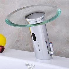 Modern Brass Bathroom Sink Automatic Sensor Mixer tap Hot And Cold Sensor Faucet Glass Waterfall Sensor Faucet Bathroom Sink Taps, Brass Bathroom, Brass Faucet, Kitchen Taps, Shower Faucet, Bathroom Fixtures, Bathrooms, Glass Waterfall, Water Tap