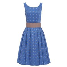 Gorgeous and dreamy blue polka dot swing dress! Classic 1950's style swing dress Lined bodice Flattering scoop neckline Detachable waspie belt Concealed zip and clasp fastening to the rear Material Composition: Shell 97% Cotton 3% Elastane, Lining 90% Polyester 10% Elastane Garment Care:Machine washable at 30°C  ITEM SIZE 8 10 12 14 16 18 …