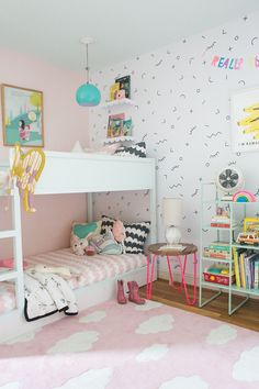 Love the hairpin nightstand! 😍 DIY riser for KURA bunk bed - Lay Baby Lay Lay Baby Lay Ikea Kura Bed, Ikea Kura Hack, Bunk Bed Designs, Kids Bunk Beds, Bunk Beds For Girls Room, Little Girl Rooms, Cool Beds, My New Room, Room Inspiration