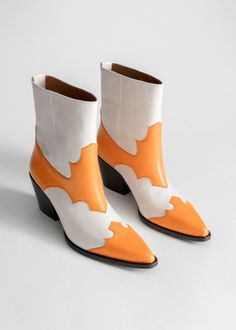 Duo Toned Leather Cowboy Boots - Orange White - Ankleboots - & Other Stories Justin Boots, Biker Look, Sneaker Trend, Duo Tone, Boating Outfit, Winter Mode, White Boots, Dream Shoes, Western Boots