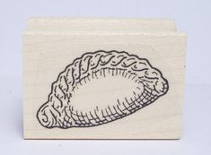 CORNISH PASTY RUBBER STAMP (2019) | Triskelt: Designed by artist Kim Victoria, the stamp is the smaller of two sizes depicting a  traditional Cornish pasty.   (Pic. from ebay.com/uk/)     ✫ღ⊰n Cornish Pasties, Victoria, Stamp, Traditional, Artist, Ebay, Design, Stamps, Artists
