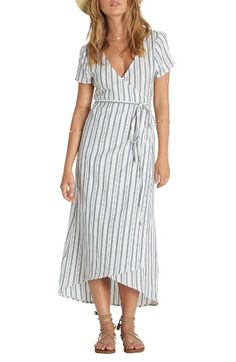 Right Side Wrap Midi Dress BILLABONG $59.95 Free shipping Vertical stripes create long, slimming lines on a flattering midi dress made from lightweight cotton that stays cool in summer heat.