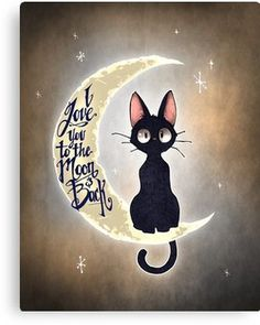 This is Jiji, the cat from Kiki's Delivery Service! I love this film! I love you to the moon & back by Tim Shumate <- His artwork is awesome! Crazy Cat Lady, Crazy Cats, I Love Cats, Cute Cats, Funny Cats, Cute Animals, Illustrations, Artwork, Stationeries