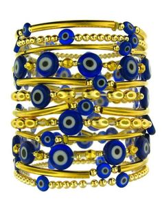 Yellow Gold Plated Bead and Navy Evil Eye Set of 12 Stretch Bracelets at Jennifer Miller