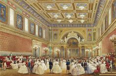 The Ballroom of Buckingham Palace by Louis Haghe in 1856. The Palace was the home of Prince Albert (1819-1861) & Queen Victoria (1819-1901) & is the largest room. It was added by Queen Victoria & used for ceremonies such as Investitures, which include the conferring of knighthoods & other awards along with state banquets. During investitures, the Queen stands on the throne dais & as award recipients approach her to receive their honors, thry are watched by their families and friends.