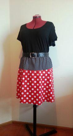 Plus size skirt polka dot skirt red white and black by GrannyJack,