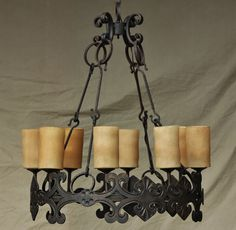 Tuscan-Gothic-Medieval-Castel Chandelier-Hand Forged-Wrought Iron