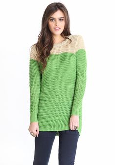 Granny Smith Colorblock Sweater ?? Wonderful for cool summer nights!