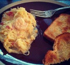 Healthy Shrimp Alfredo Spaghetti Squash Instagram! @alexfrisby_ Click for Recipe