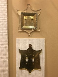 Lucite and gold leafed Pagoda switch plates by Susan Stanley Sprinkle at Reprotique at Market Square. #hpmktss