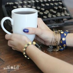DRINKING COFFEE while wearing Beautiful SOUTH HILL DESIGNS jewelry.