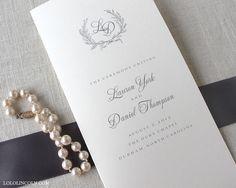 Laurel Wreath Monogram Wedding Program DEPOSIT to by LoloLincoln, $100.00