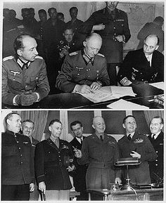 nazi germany surrenders | Top) - German officers sign unconditional surrender in Reims, France ...